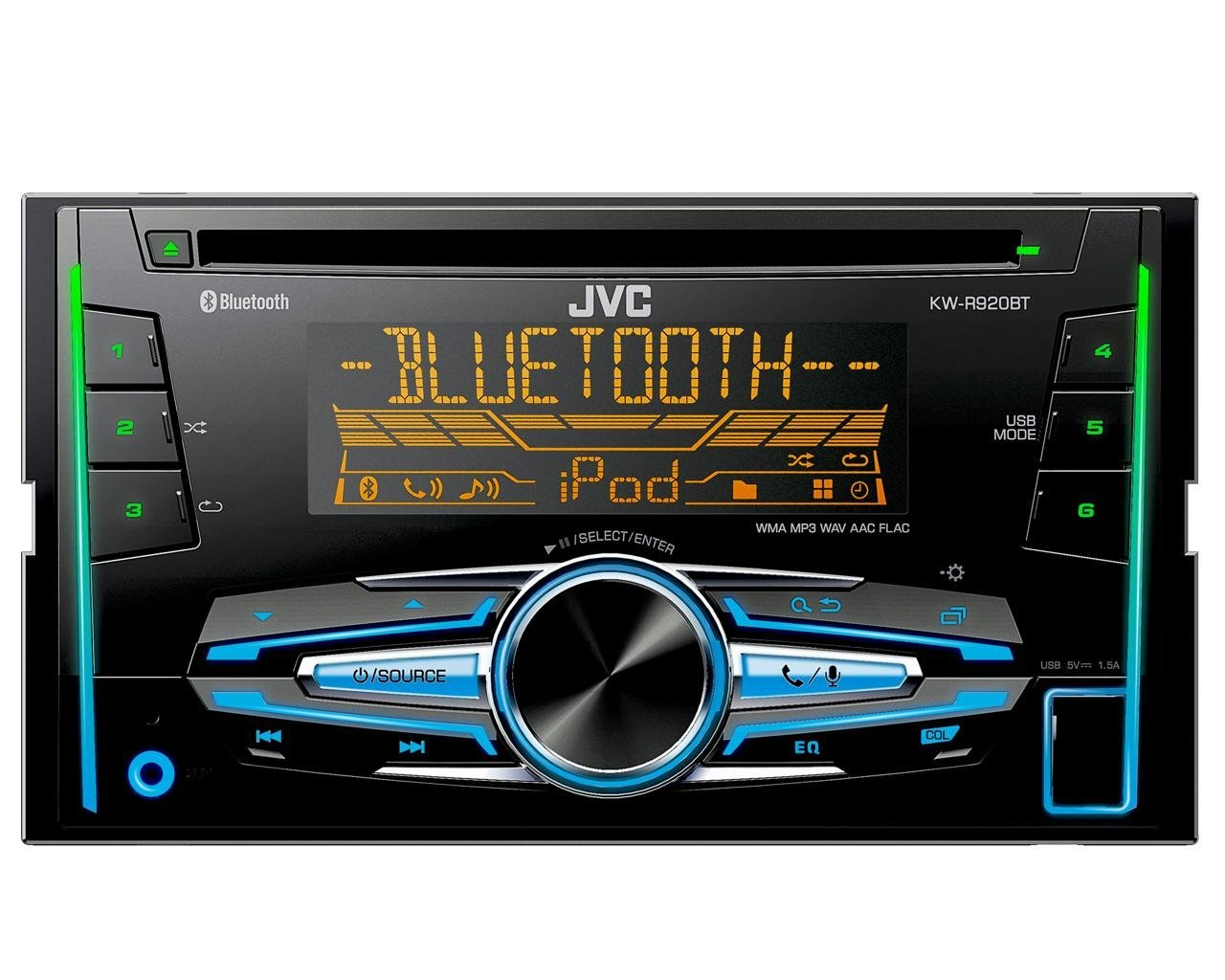 JVC KW-R920BT Autoradio con CD, Tecnologia Bluetooth Wireless e Front USB/AUX Input