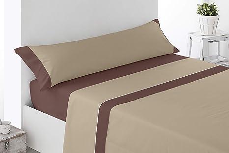 Cabetex Home - Juego de sábanas Lisas - Colores Combinados - 3 Piezas - Microfibra Transpirable (Chocolate/Beige, 90_x_190/200 cm)