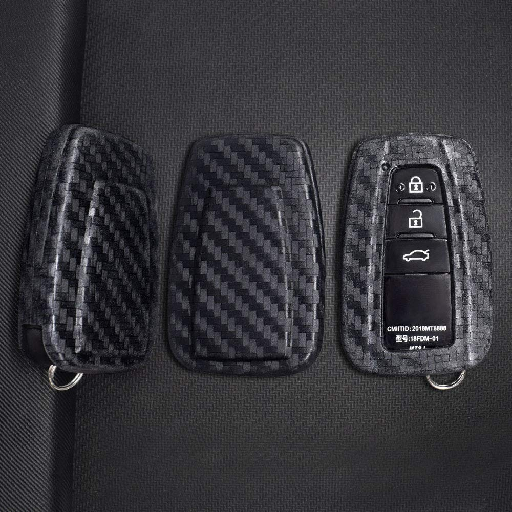 Ceyes Car Smart Key Cover Remote Key Cover Carbon Fiber Texture Keyless FOB Holder for Toyota Camry Prius C-HR 2 3 4 Buttons-1pc Key Protect Cover 2019 Avalon Corolla Hatchback 2017 2018 2019