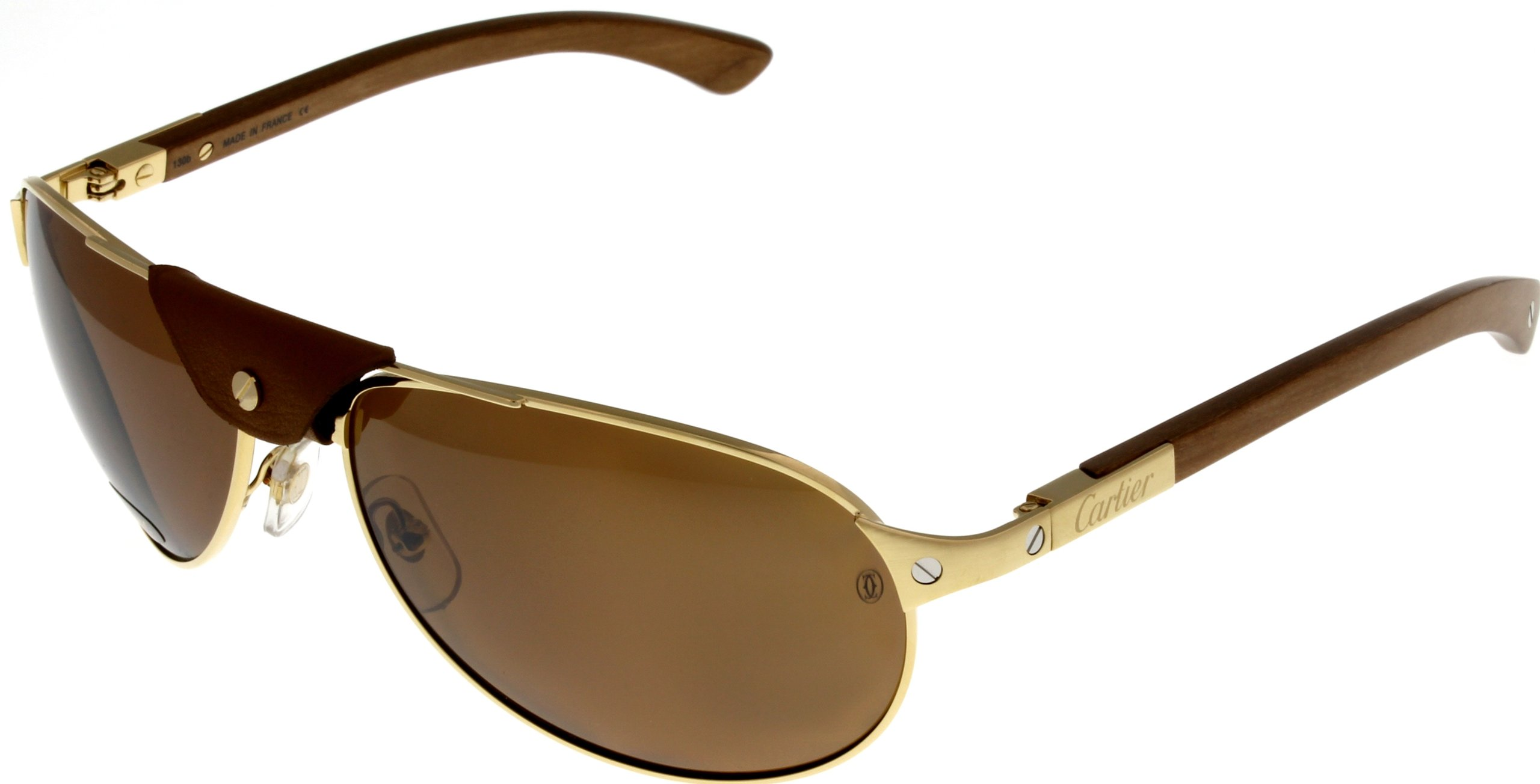 7d30444ab6207 Galleon - Cartier Sunglasses Polarized Santos-Dumont Aviator Wood Unisex  T8200862