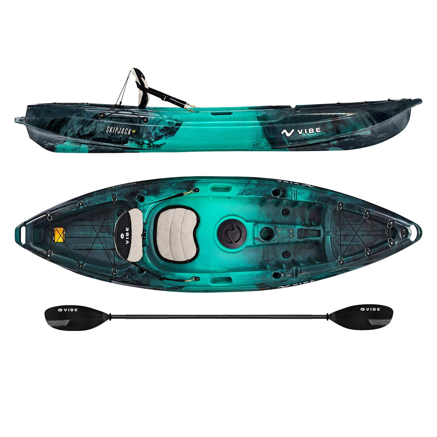 Vibe Kayaks Skipjack 90   9 Foot   Angler and Recreational Sit On Top Light Weight Fishing Kayak with Paddle and Seat (Caribbean Blue)