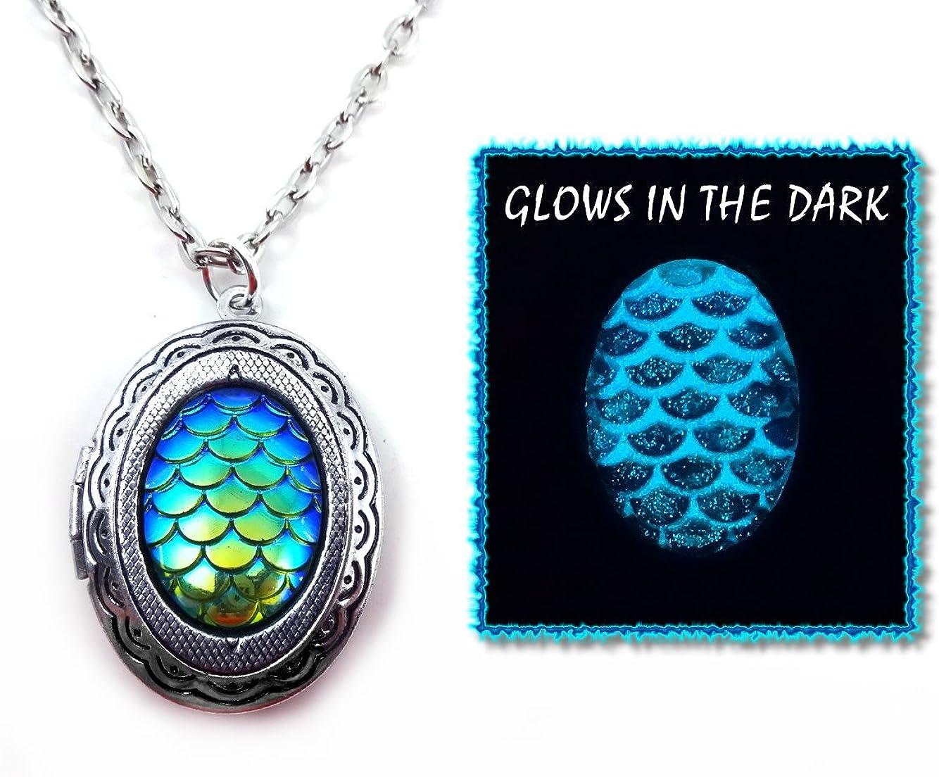 Beauty-OU Teardrop Glow in Dark Pendant Necklace Vintage Glowing Jewelry for Men Luminous Women