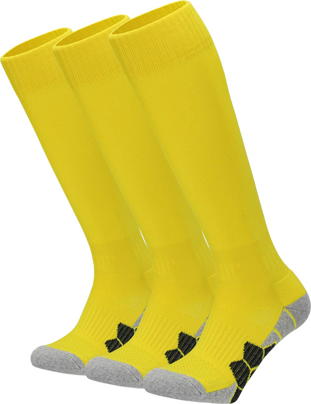 Youth Kids Adult Knee High Cotton Golf Socks Boys Girls Parent-Child Outdoor Active Long Towel Bottom Socks, 3-Pair Yellow, Size L (Kids 9C-13C / W 10-13 / M 8-12) by APTESOL