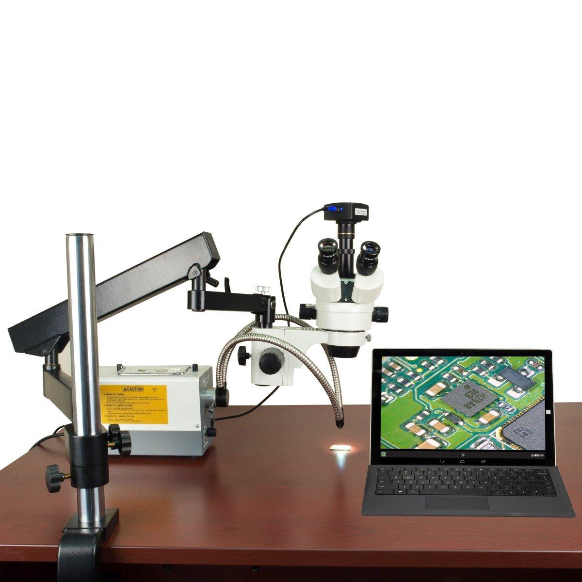 OMAX 150Wリングおよびデュアルファイバーライトと関節アームの2.1倍-270X 720 WiFiのズーム実体顕微鏡   B014V6OYJG