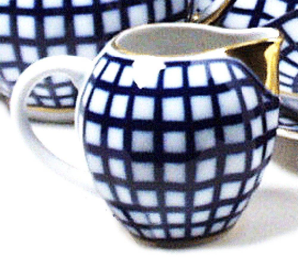 Religious Gifts Lomonosov Porcelain Cobalt Check Creamer 3 1/2 Inch