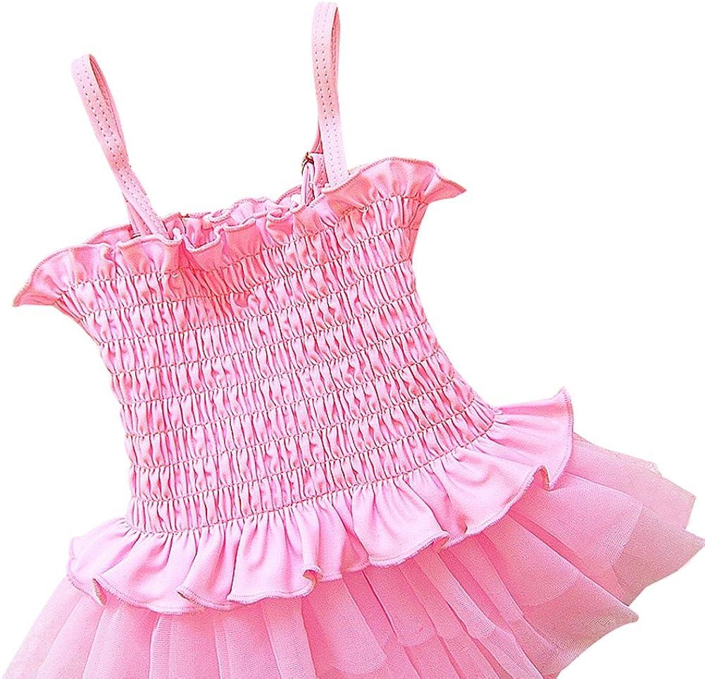 Toddler Girls One-Piece Swimsuit Lace Tutu Swimwear Bikini Beachwear With Hat