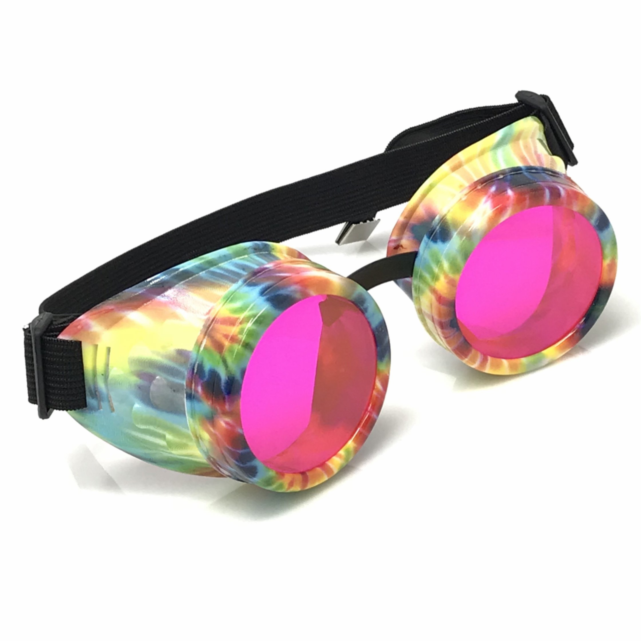 UV Glow in The Dark Steampunk Rave Goggles Retro Round Glasses, Tie Dye Pattern Neon Pastel Color Lenses by UMBRELLALABORATORY
