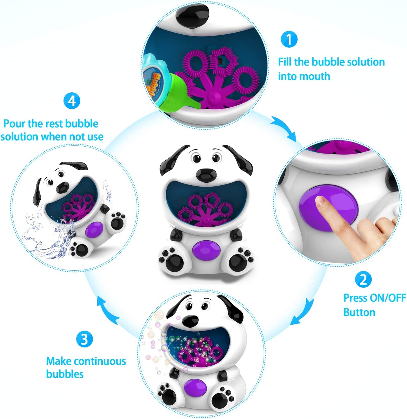 Bubble Machine for Kids Toddlers Boys Girls Baby Bath Toys Indoor Outdoor Automatic Bubble Maker Easy to Use 2 AA Batteries Needed Bubbles Per Minute WisToyz Bubble Machine Dog Bubble Blower 500