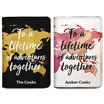 00c5f20f81a8 His & Her Personalized Passport Holder Cover - Customized Travel Gift For  Couples
