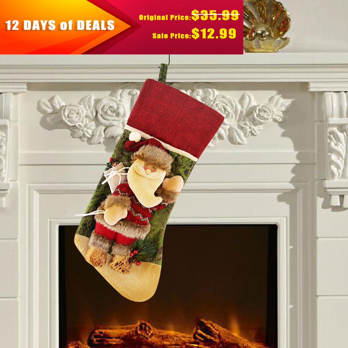 Cotton and Linen Stocking, Santa