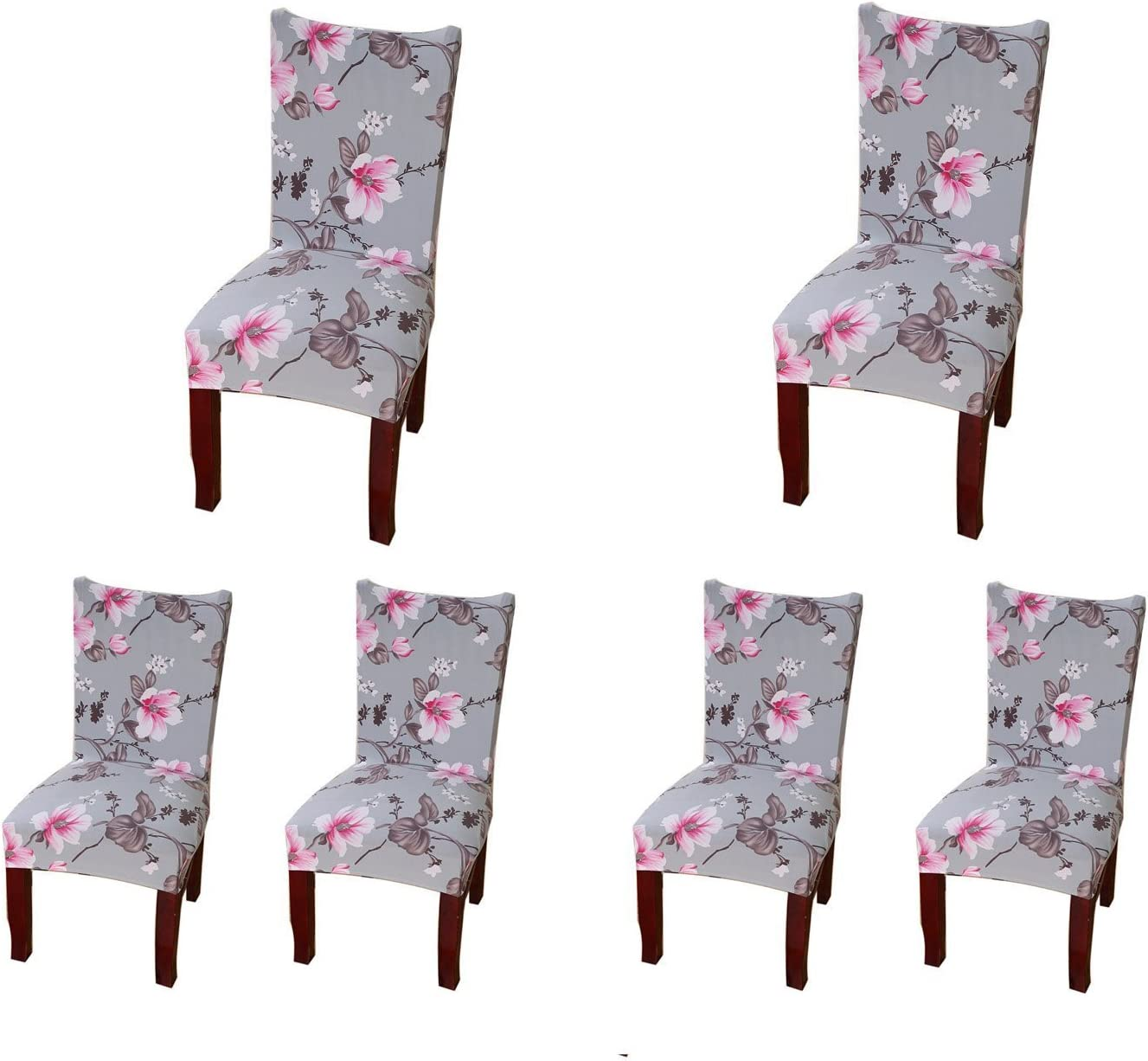 SoulFeel 6 x Soft Fit Stretchable Dining Chair Covers with Printed Floral Patterns, Spandex Banquet Chair Seat Protector Slipcovers for Holiday Home Party, Hotel, Wedding Ceremony (Style 31, Floral)
