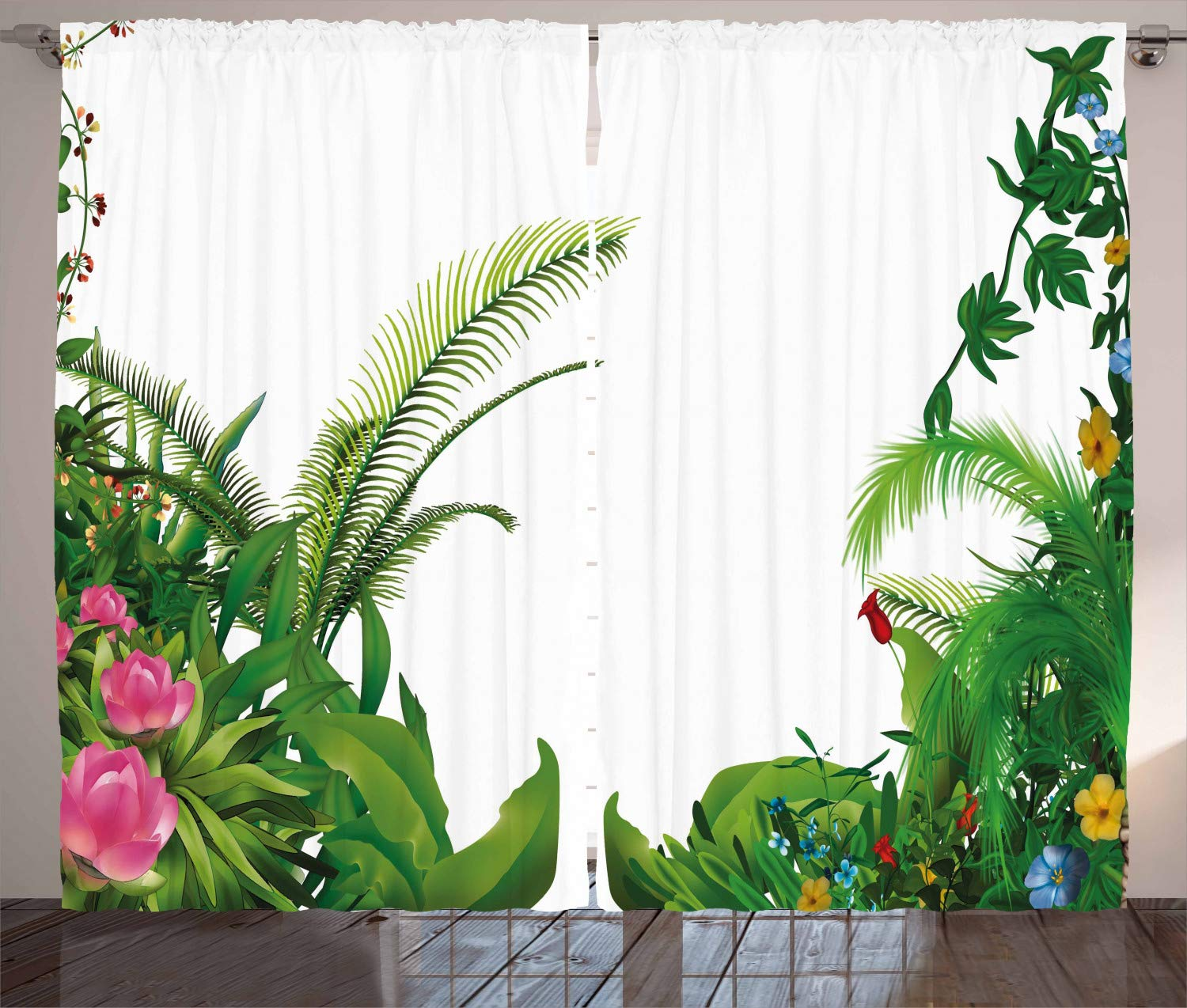 Green White Living Room Bedroom Window Drapes 2 Panel Set Exotic Beach Water and Palm Tree by The Shore with Clear Sky Landscape Image 108 W X 84 L Inches Ambesonne Ocean Curtains