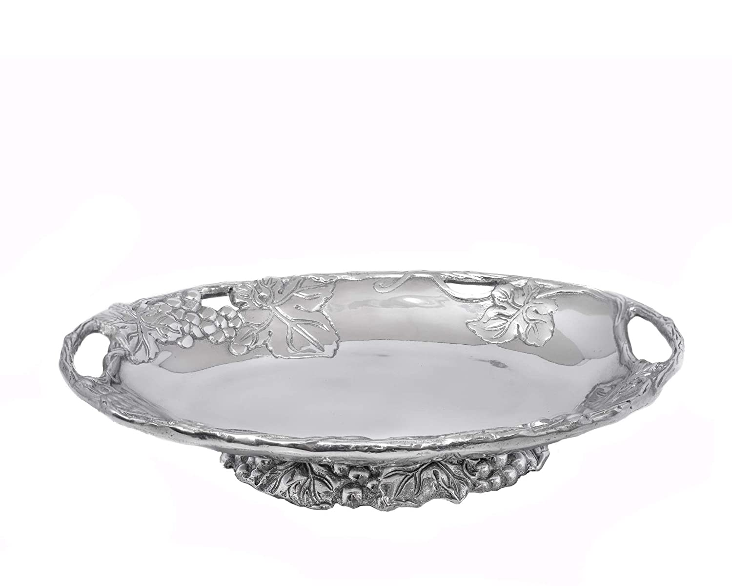 Arthur Court Designs Aluminum Grape Footed Side Dish Server 11 inches long 10-2086