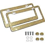 Eing 2 peças de molduras de placa de carro com strass e cristal + 2 pacotes de acessórios de parafusos para combinareing U22-