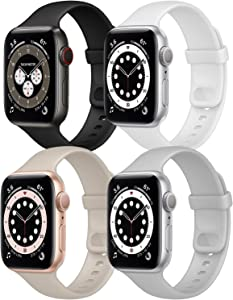 Hotflow 4 Pack Compatible with Apple Watch Bands 38mm 40mm for Women Men,Soft Silicone Sport Replacement Strap Compatible for iWatch Series SE 6 5 4 3 2 1(Fog/Black/White/Stone,Size-S/M)