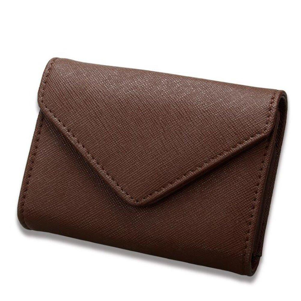 DcSpring RFID Schutz Damen Kreditkartenhülle Kleine Echtes Leder Herren Kreditkartenetui Mini Geldbörse Kleine Portemonnaie (Dunkelbraun)