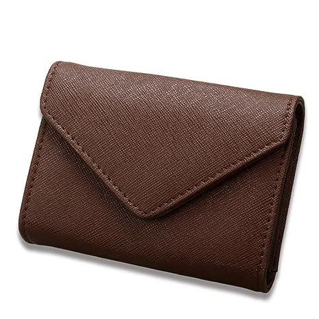 DcSpring RFID Cartera Tarjeteros Pequeñas Cuero Genuino Monedero Portatarjetas Mini para Mujer Hombre (Marrón oscuro