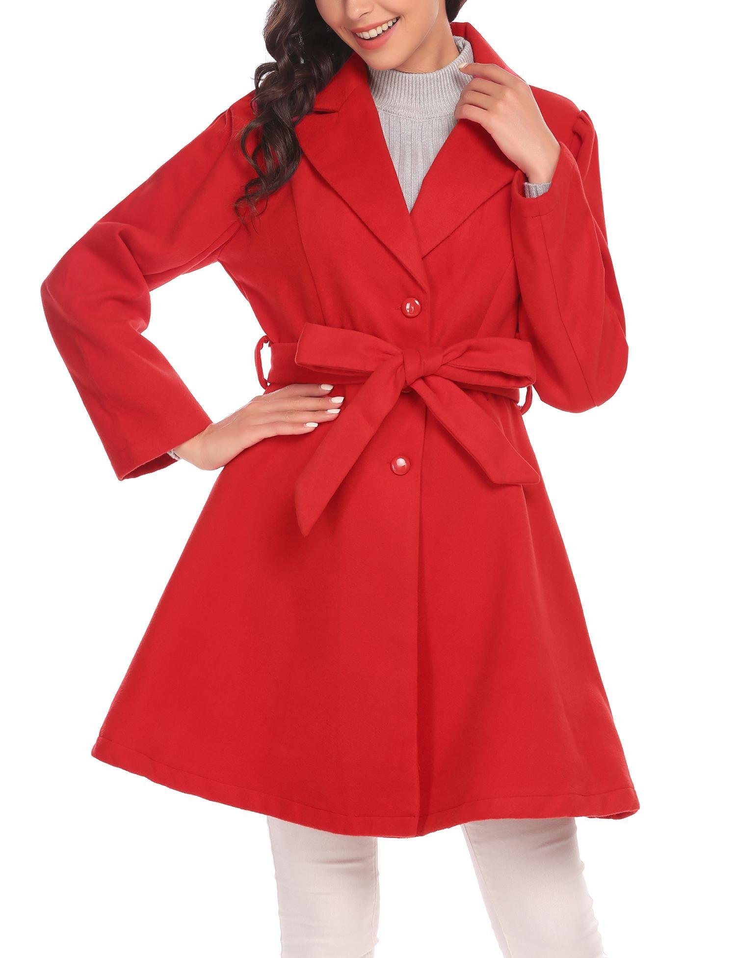 ELESOL Womens Elegant Wool Blend Long Jackets Fitted Single Breasted Trenchcoats Red XXL