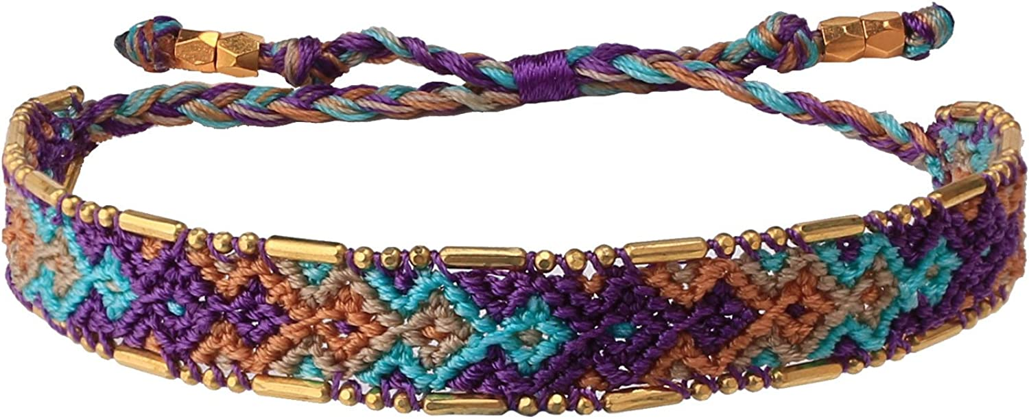 KELITCH Woven Friendship Bracelet Colorful Wide Bohemia Wrap Bracelets for Women Girls