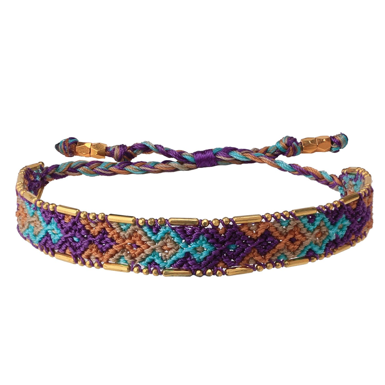 KELITCH Woven Friendship Bracelet Colorful Wide Bohemia Wrap Bracelets for Women Girls