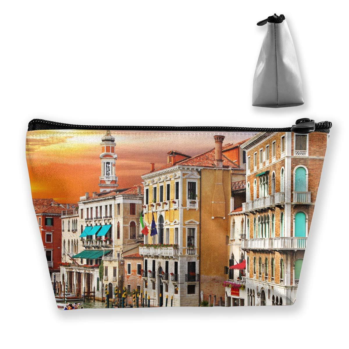 Vistas panorámicas de Venecia Canal Barco Ciudad de Italia Paisaje Viajes Bolsas de cosméticos Estuche Lápiz Multifunción Estuche