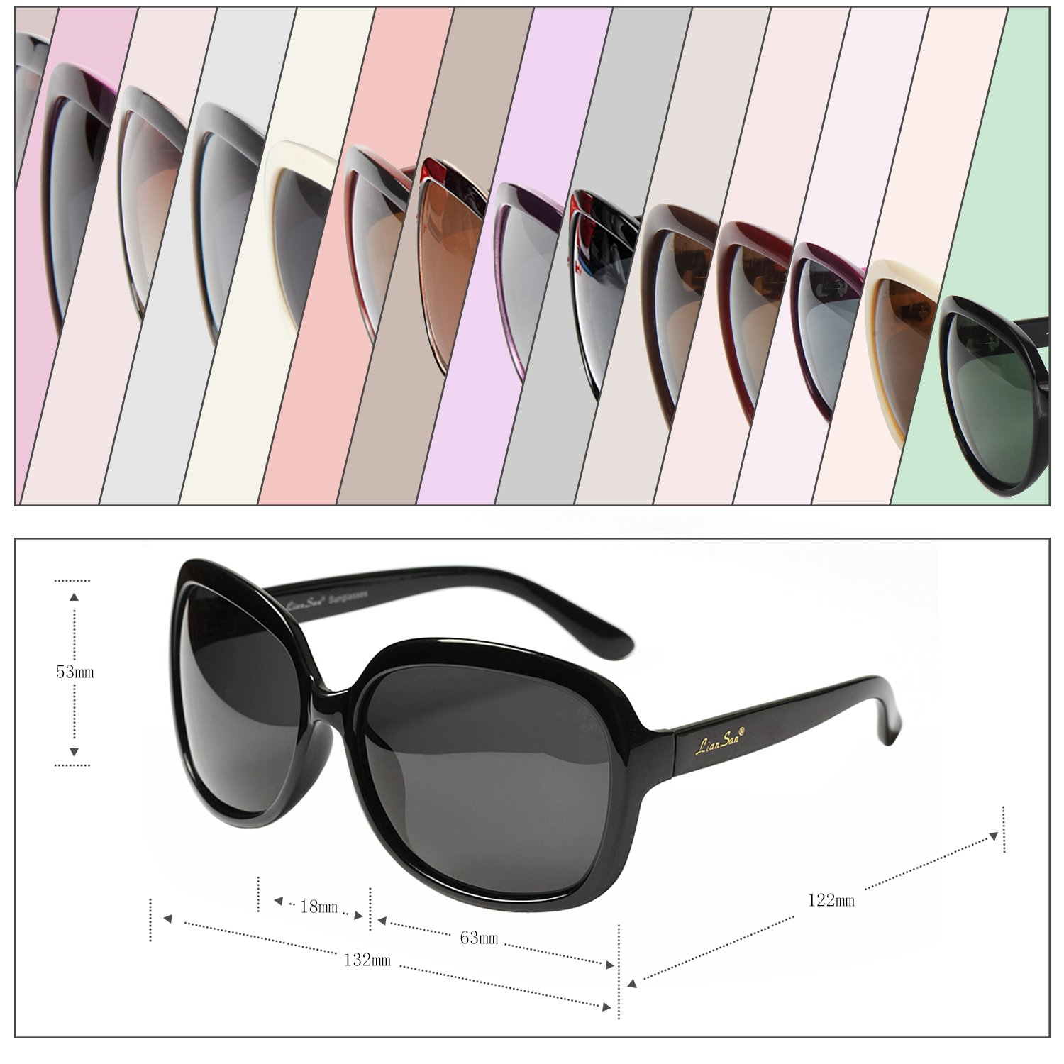 ecf3dcbed7b2a LianSan Oversized Womens Sunglasses Polarized uv Protection Simple  Sunglasses LSP301 …