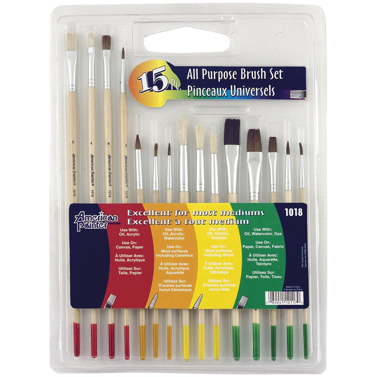 Loew Cornell 1018 Brush Set Ap 15-Piece Wood Handle 1 Set 2