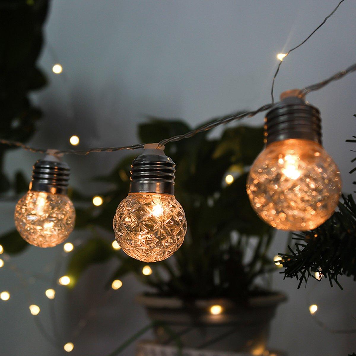 Fiestas Jard/ín Guirnaldas luminosas de exterior,SUAVER Impermeables 10LED Solar Luces de Hadas LED luz de Bola,Luces decorativas Luces de cadena para /Árbol de Navidad Bodas Blanco c/álido Terraza