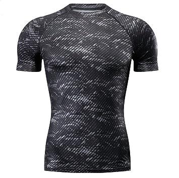 LUCKY-U Camiseta De Compresión, Verano De Hombre, Forma del Cuerpo, Camiseta