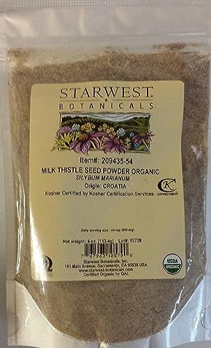 Milk Thistle Seed Pwd Org – 4 Oz, Starwest Botanicals