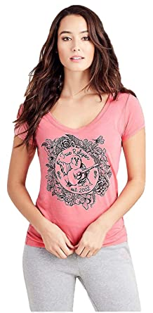 3d3d3a0b5655df True Religion Women's Flower Bowl Buddha Print Rounded V Neck Tee T-Shirt  in Pink