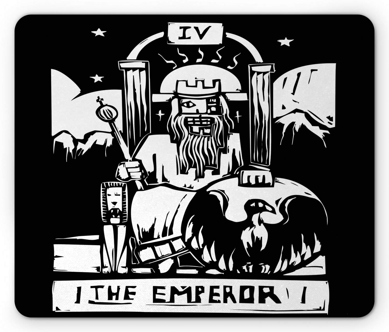 Ambesonne Tarot Mouse Pad, Tarot Card for The Emperor Woodcut Style Illustration Monochromatic Artwork, Standard Size Rectangle Non-Slip Rubber Mousepad, Black and White