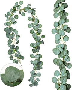 2PCS Artificial Vines Faux Silk Eucalyptus Leaves Fake Leaves Handmade Greenery Garlands Backdrop Table Placement Décor