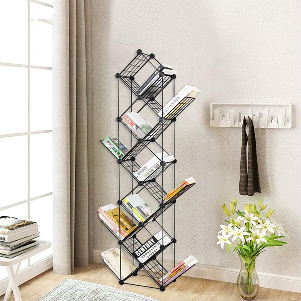Cretee 11-Tier Tree Bookshelf, Metal Standing Bookcase Small Space Book Shelves Rack for Living Room, Home, Office Compact Storage Organizer