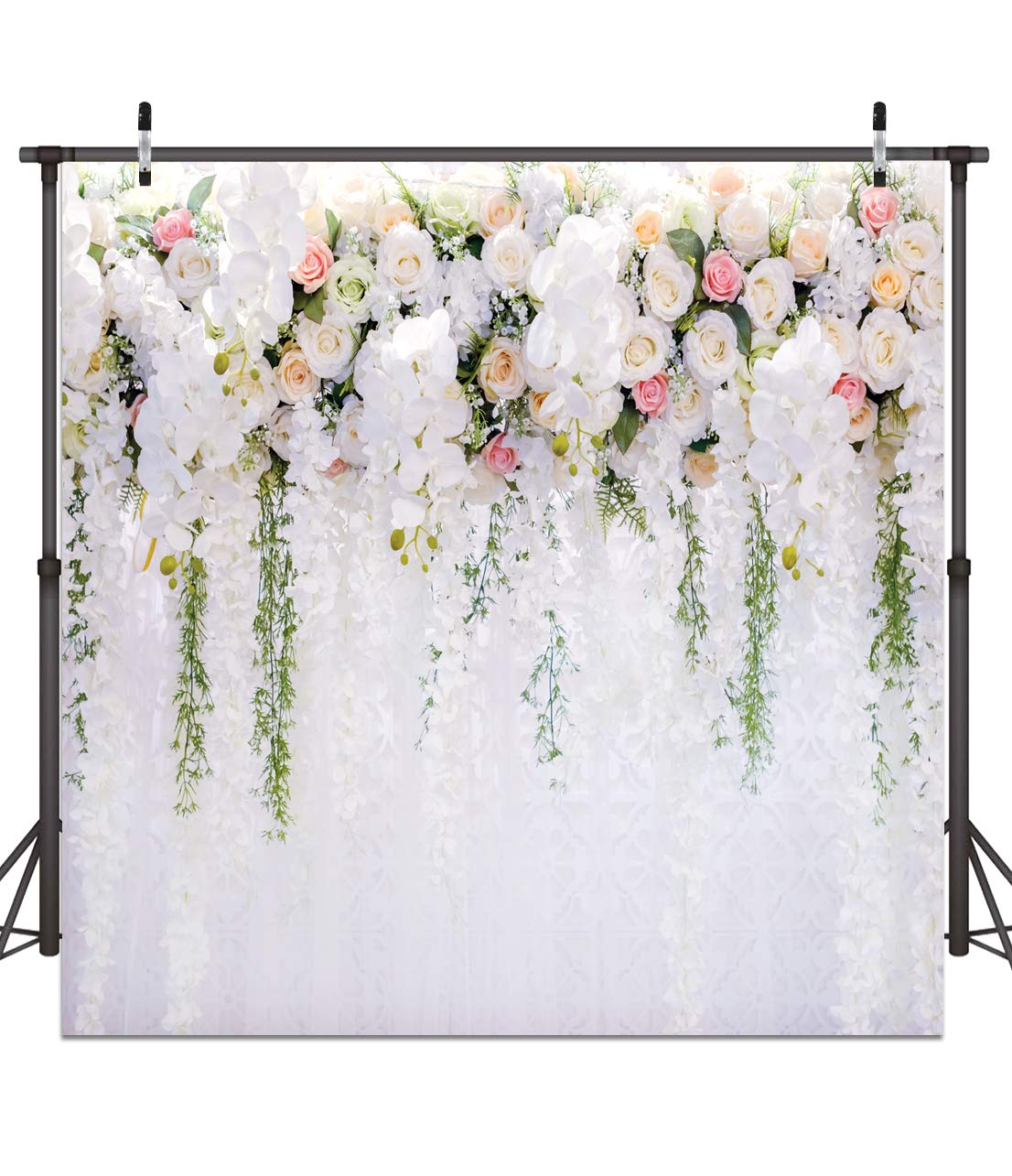 Dudaacvt 10x10FT White Flower Backdrop Curtain Floral 3D Flower Wedding Birthday Party Background Photo Backdrop Carnival Party Backdrop D073 by Dudaacvt