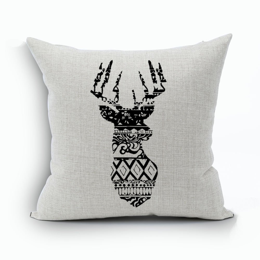 WoodBury Throw Pillow Case Cushion Cover Decorative Pillowcase Square Deer Pattern 18 x 18 Inches 4 Set by Wood Bury (Image #5)