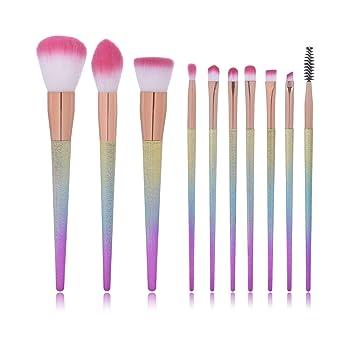 5feee89303a9 Makeup Brush Oval Makeup Brushes Set Eyebrow Eyeliner Blush Cosmetic  Concealer Brushes Kits (10...