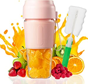 Portable Blender, Cordless Personal Blender Juicer  Waterproof Smoothie Blender With USB Rechargeable, BPA Free Tritan 300ml (Pink-1)