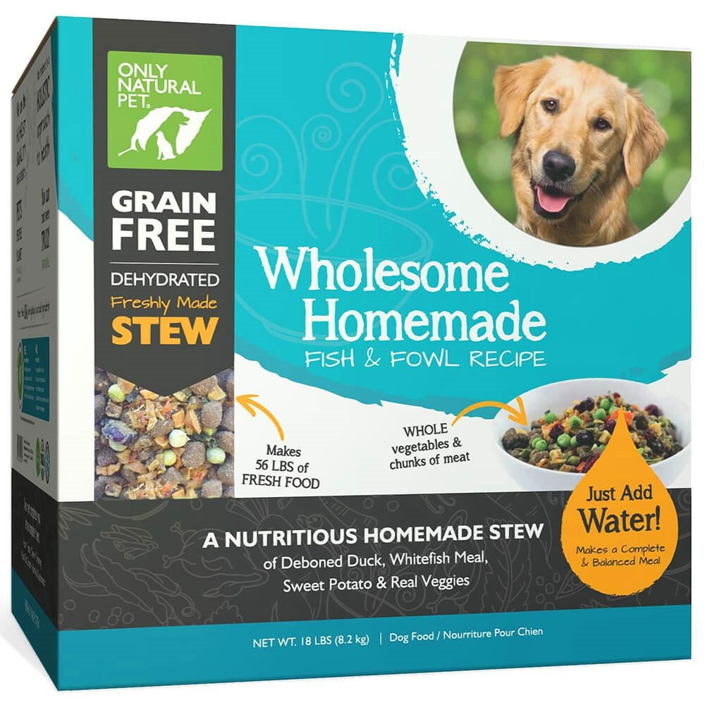 Only Natural Pet Wholesome Homemade Stew Dehydrated Dog Food - Human Grade Formula That Contains Real Wholesome Nutrition, Low Glycemic, Non-GMO - Fish & Fowl 18 lb Box (Makes 56 lbs of Food)
