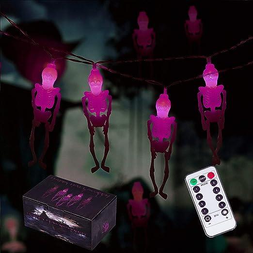 Amazon.com: Skeleton Skull Lights, Halloween Skull Lights Decorations, 15-LED Battery Operated Halloween Party Lights for Indoor & Outdoor (Purple): Home & Kitchen