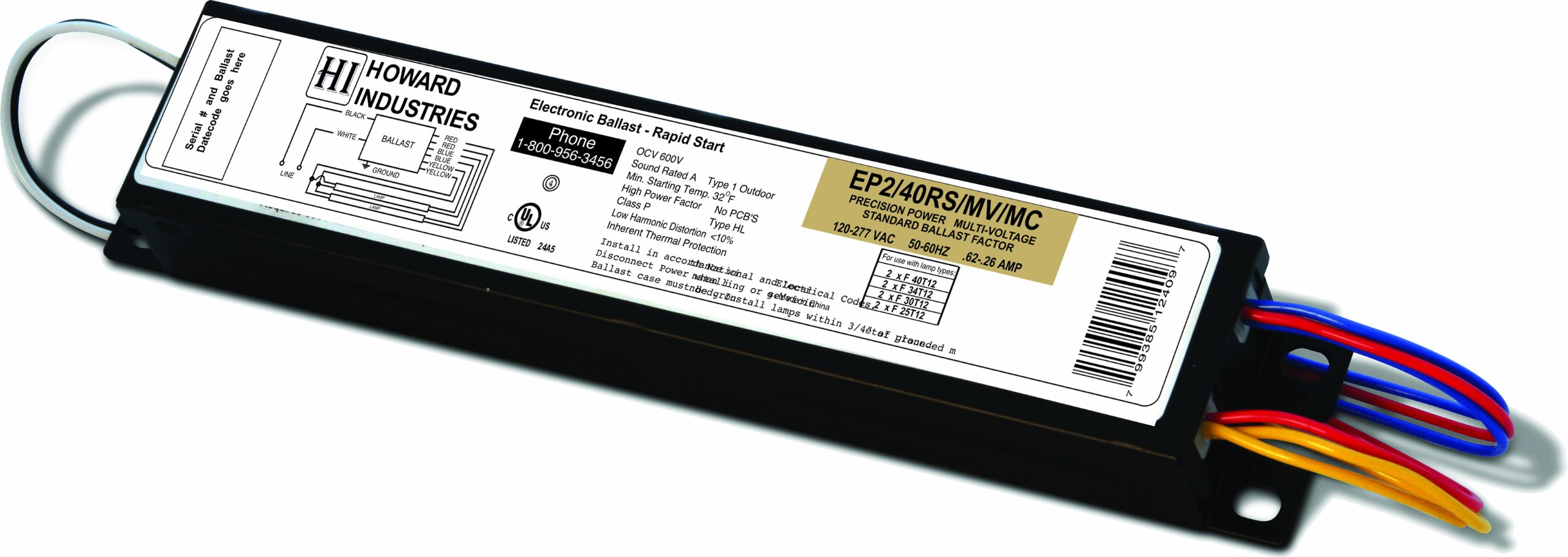 Howard Lighting EP2/40RS/MV/MC Electronic Ballast for Operating  F40T12 Lamps