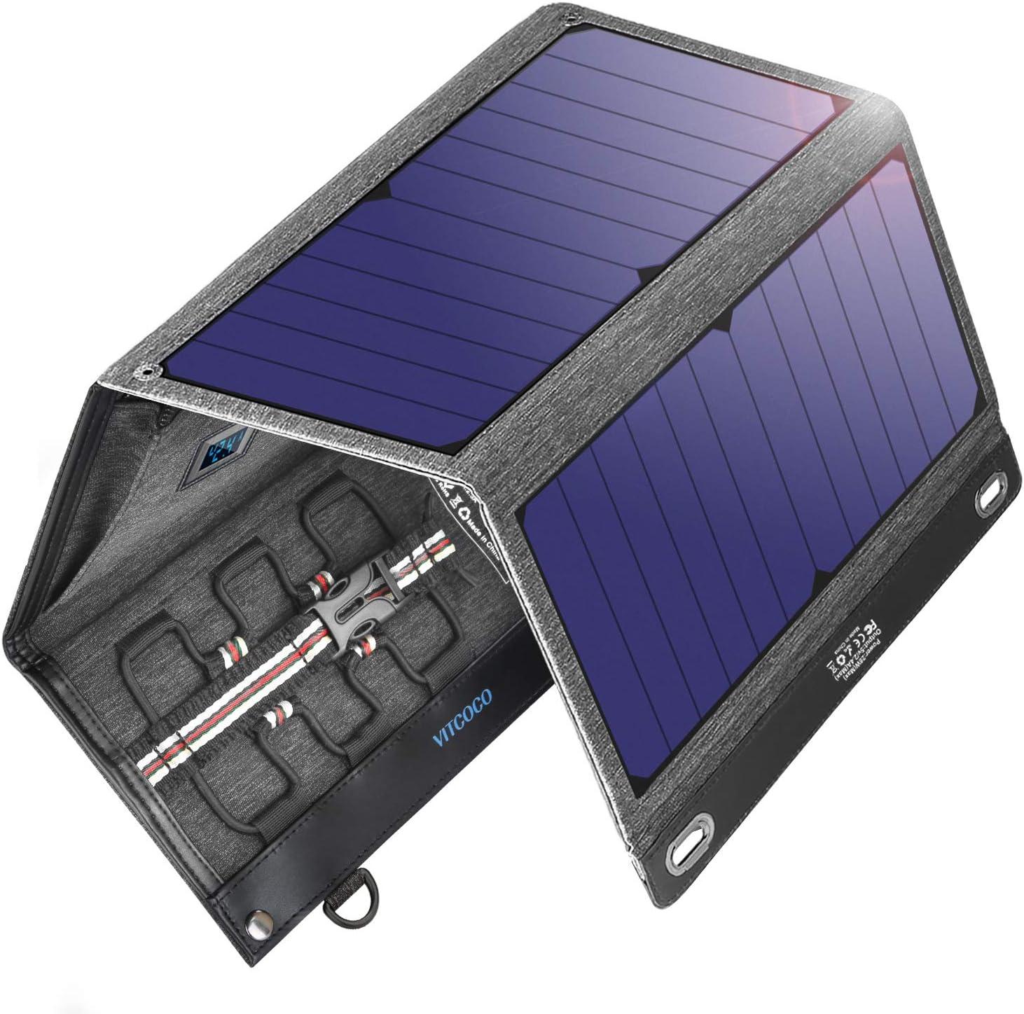 VITCOCO Cargador Solar Portátil, 29W Portatil Cargador Solar Panel ...