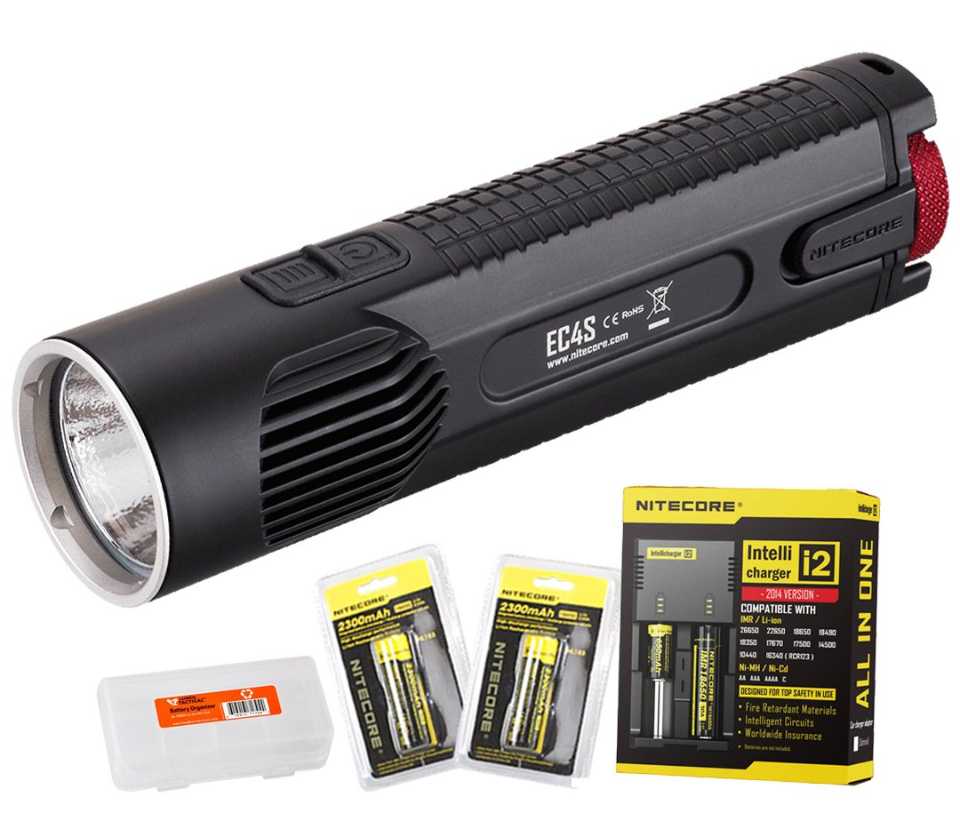 Bundle - 5 Items: NiteCore EC4S 2150 Lumens CREE XHP50 LED Flashlight with 2x Nitecore 18650 Rechargeable Batteries, Nitecore i2 Smart Charger and LumenTac Battery Organizer