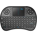 Rii Mini Bluetooth Wireless Touchpad Rechargable Keyboard Combo, for PC, PAD, XBOX 360, PS3, Google Android TV Box, HTPC, IPTV, Black (i8 BT) Black