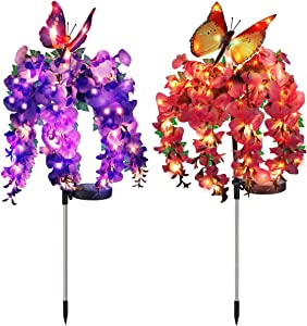 WOSPORTS Solar Flower Lights Updated Garden Lights Outdoor with Butterfly, Multi Color Changing LED Solar Powered Lights for Patio, Lawn, Garden, Yard Decoration, 2 Pack