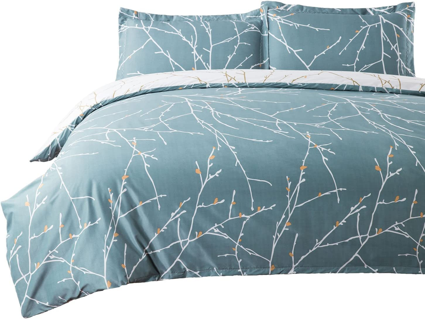 Bedsure Duvet Cover Set with Zipper Closure-Teal/White Printed Branch Pattern Reversible,Twin(68x90 inches)-2 Pieces (1 Duvet Cover + 1 Pillow Shams)-110 GSM Ultra Soft Hypoallergenic Microfiber
