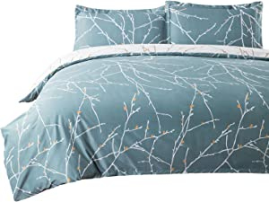 Bedsure 3 Pieces Duvet Cover Set (1 Duvet Cover + 2 Pillow Shams) Printed Duvet Cover Full/Queen(86x96 inches) Set with Ultra-Soft Microfiber Teal/White