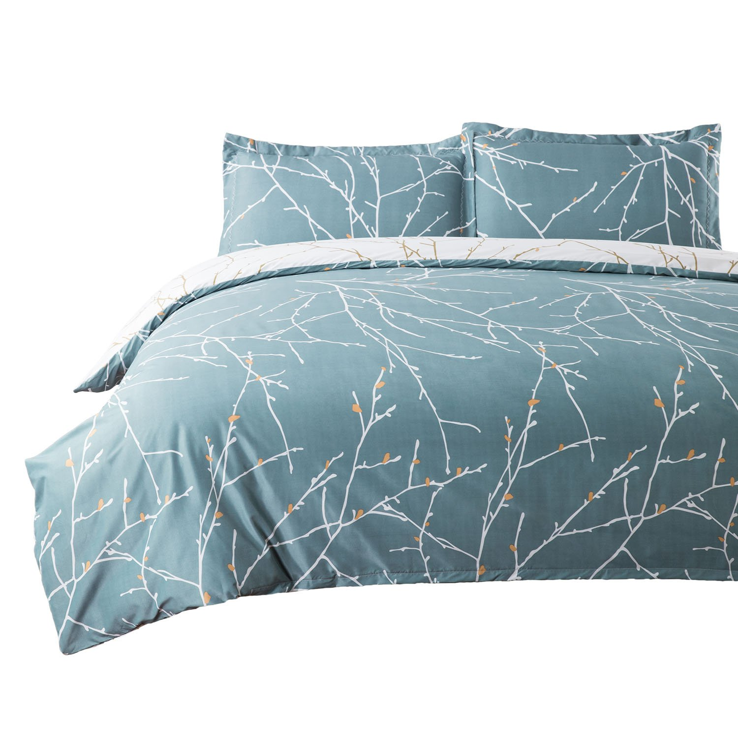 Bedsure Duvet Cover Set with Zipper Closure-Branch and Plum Blue Printed Pattern,Twin (66