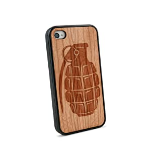 Hand Grenade Natural Wooden iPhone 4/4S Case in American Cherry Wood
