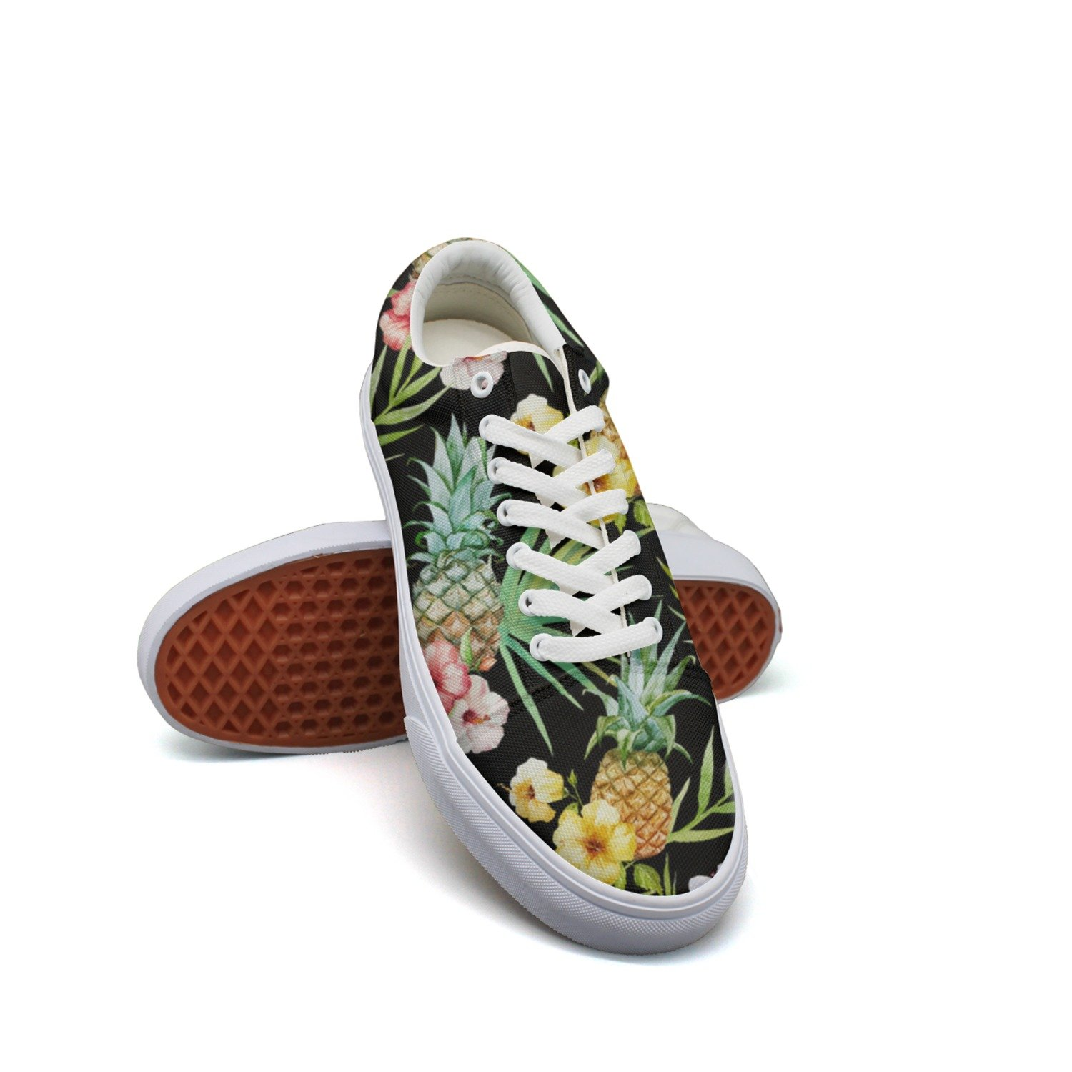 2772dd302f Amazon.com  Landsr Tropical Hawaii Watercolor Pineapple Hibiscus Plumeria Men s  Canvas Shoes Old School Sneakers  Sports   Outdoors